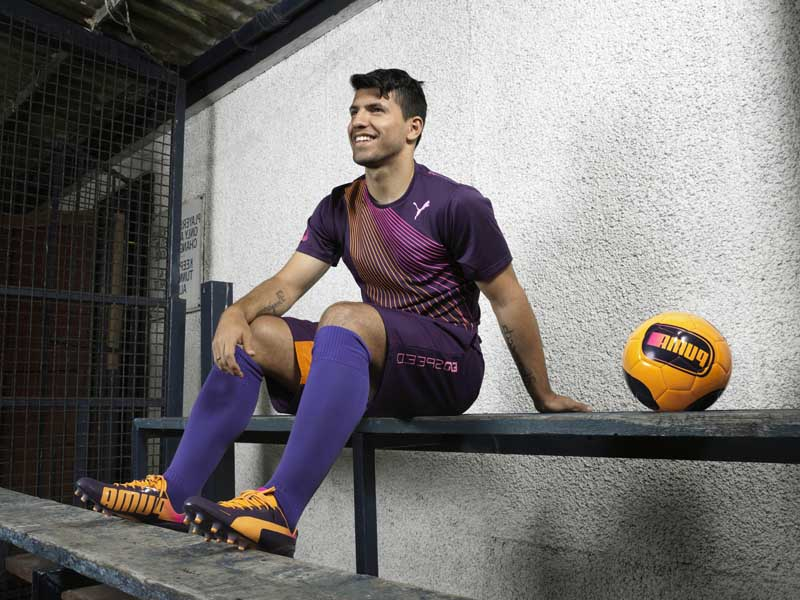 Sergio Aguero wears PUMA evoSPEED football boots