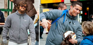 Cristiano Ronaldo Homeless Disguised plays soccer on street